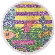 Spooky Eyes In The Field  Round Beach Towel