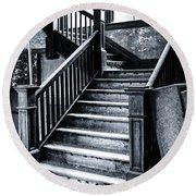 Spooky Grand Staircase Round Beach Towel