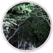 Spooky Trees Round Beach Towel