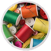Spools Of Thread With Buttons Round Beach Towel