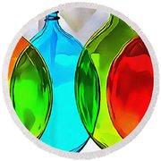 Spoon Bottles-rainbow Theme Round Beach Towel
