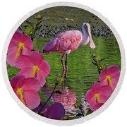 Spoonbill Through The Flowers Round Beach Towel