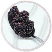 Spoonful Of Blackberries Round Beach Towel