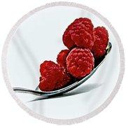 Spoonful Of Raspberries Round Beach Towel