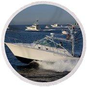 Sportfishing Boats - Cabo San Lucas Round Beach Towel