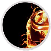 Sports Car In Flames Round Beach Towel by Oleksiy Maksymenko