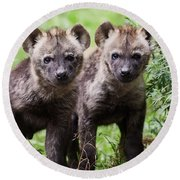 Spotted Hyena Cubs I Round Beach Towel