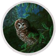 Spotted Owl In Ancient Forest Round Beach Towel