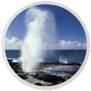 Spouting Horn Blow Hole Round Beach Towel