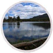 Sprague Lake Cloud Reflection Round Beach Towel