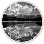 310204-bw-sprague Lake Reflect Bw  Round Beach Towel