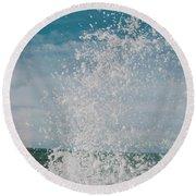 Spray In The Bay Round Beach Towel