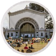 Spreckels Organ Pavilion Concert - San Diego Round Beach Towel