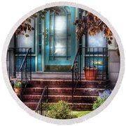 Spring - Door - Apartment Round Beach Towel by Mike Savad
