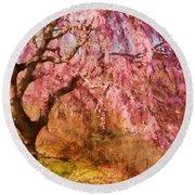 Spring - Sakura - A Beautiful Spring Day  Round Beach Towel