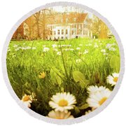 Spring. A Medow Spread With Daisies In Baden-baden, Germany Round Beach Towel