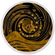 Spring Arrives In Golden Global Style Round Beach Towel