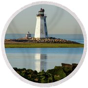 Spring At The Lighthouse Round Beach Towel