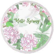 Spring  Background  With Pink Peonies And Flowers.  Round Beach Towel