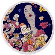 Spring Beauty Round Beach Towel