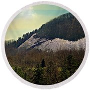 Spring Begins At Glassy Mountain Round Beach Towel