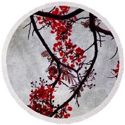 Spring Bloosom In Maldives. Flamboyant Tree II. Japanese Style Round Beach Towel