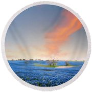 Spring Bluebonnets In Texas Round Beach Towel