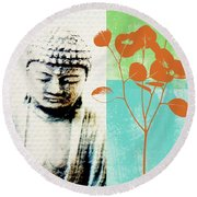 Spring Buddha Round Beach Towel by Linda Woods