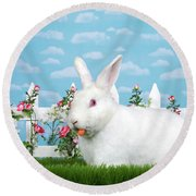 Spring Bunny Loves His Carrots Round Beach Towel