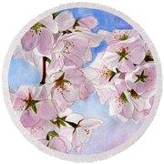 Spring- Cherry Blossom Round Beach Towel