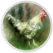 Spring Chicken Round Beach Towel