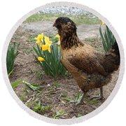 Spring Chicken Round Beach Towel