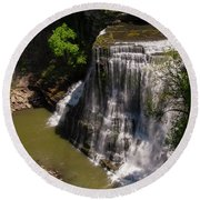Spring Color At Burgess Lower Falls Round Beach Towel