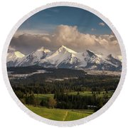 Spring Comes To The High Tatra Mountains In Poland Round Beach Towel