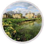 Spring Daffodils, Ramsey Village Pond, Cambridgeshire, England Round Beach Towel
