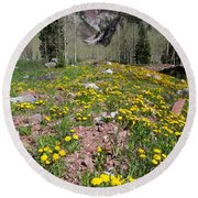 Spring Dandelion And Mountain Landscape Round Beach Towel