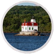 Spring Evening At Esopus Lighthouse Round Beach Towel
