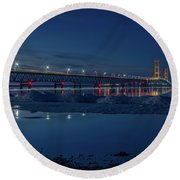 Spring Evening At The Mackinac Bridge Round Beach Towel