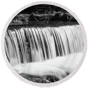Spring Falls At Hodgson Grayscale Round Beach Towel