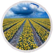 Spring Fields Round Beach Towel