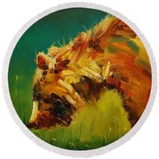 Spring Flower Bear Round Beach Towel