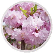 Spring Flowering Trees Art Prints Pink Flower Blossoms Baslee Round Beach Towel