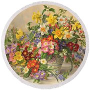 Spring Flowers And Poole Pottery Round Beach Towel by Albert Williams