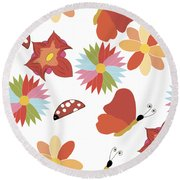 Spring Flowers Pattern Round Beach Towel