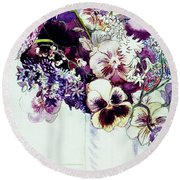 Spring Flowers With Fritillaria  Round Beach Towel