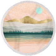 Spring Forest Lake Round Beach Towel