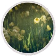 Spring Garden With Narcissus Flowers Round Beach Towel
