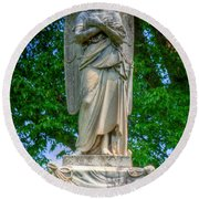 Spring Grove Angel Statue Round Beach Towel