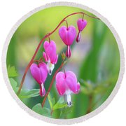 Spring Hearts - Flowers With Vignette Round Beach Towel
