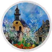 Spring In Foy Notre Dame Dinant Round Beach Towel